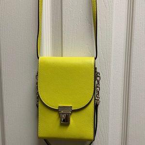 Henri Bendel yellow cross shoulder bag